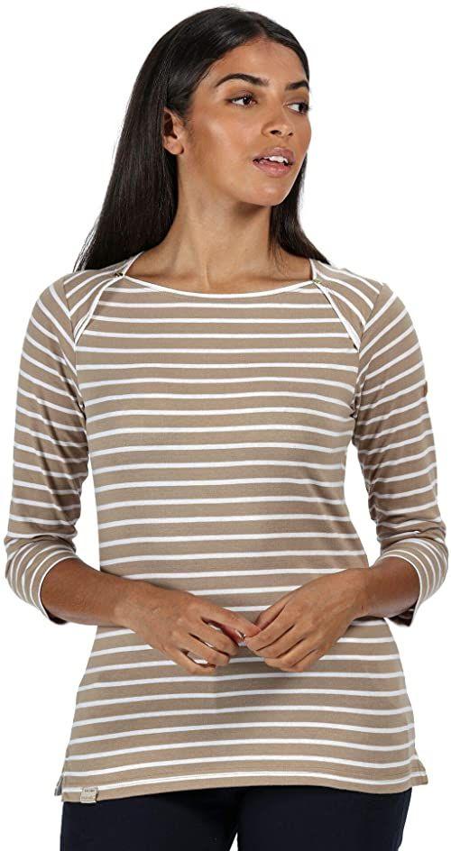 Regatta Damska koszulka polina z długim rękawem bawełniana z dekoltem w łódkę T-shirty/polos/kamizelki Krem muszkatołowy w paski 38
