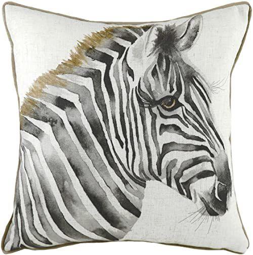 Evans Lichfield Poduszka wypełniona piórem Safari zebra, biała, 43 x 43 cm