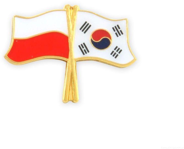 Flaga Polska - Korea Południowa , przypinka