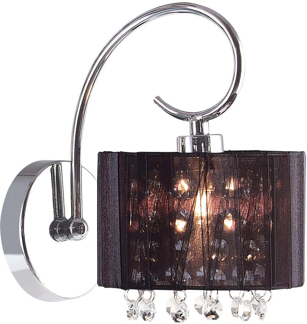 Italux kinkiet lampa ścienna czarna Span MBM1583/1 BL abażur kryształy