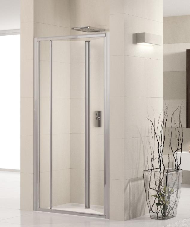 Novellini Drzwi prysznicowe harmonijkowe LUNES S 90 cm szkło przejrzyste profil srebrny LUNESS90-1B