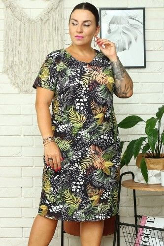 Sukienka ołówkowa wizytowa MARLENA LETNIA kolorowe liście na czarnym tle