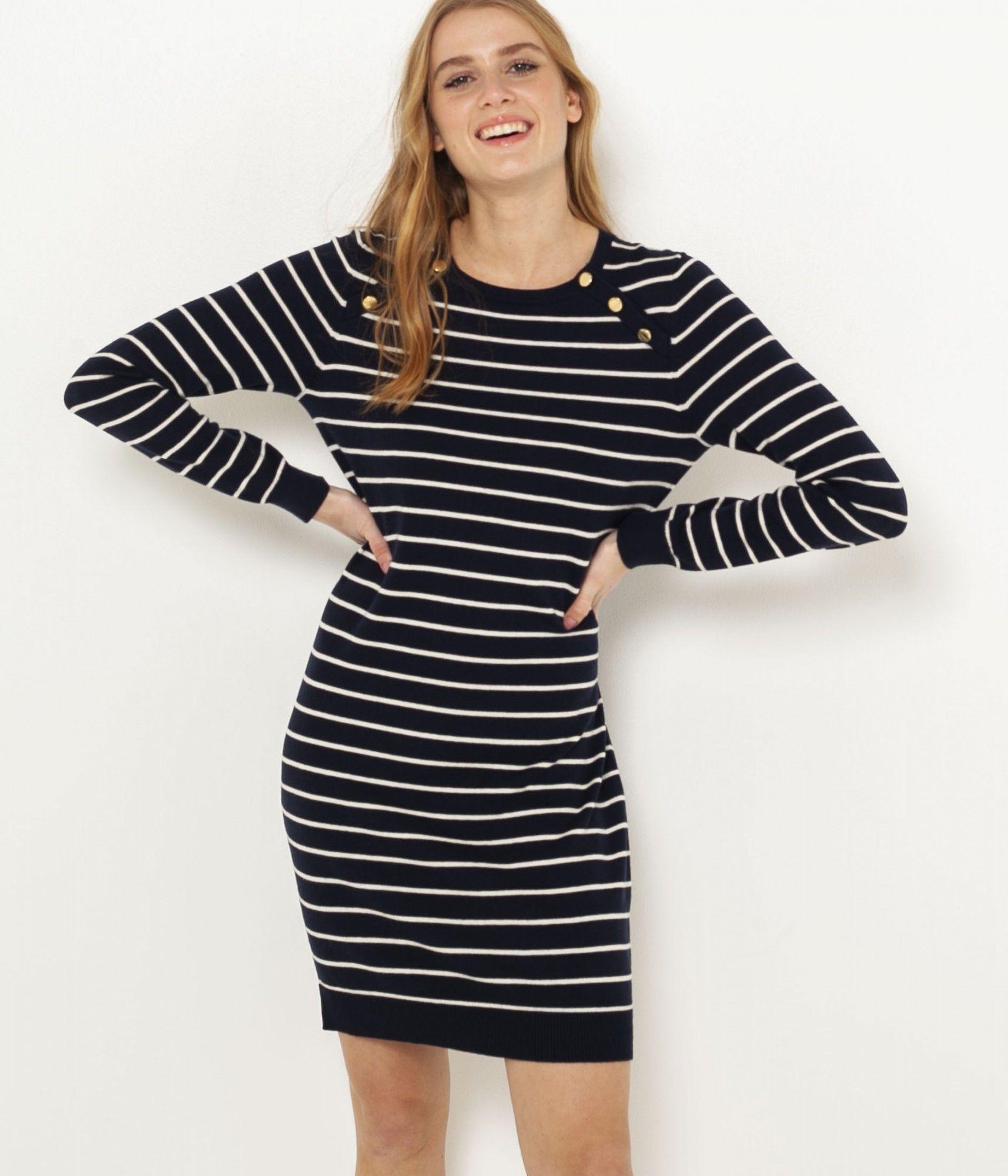 CAMAIEU czarna swetrowa sukienka w paski