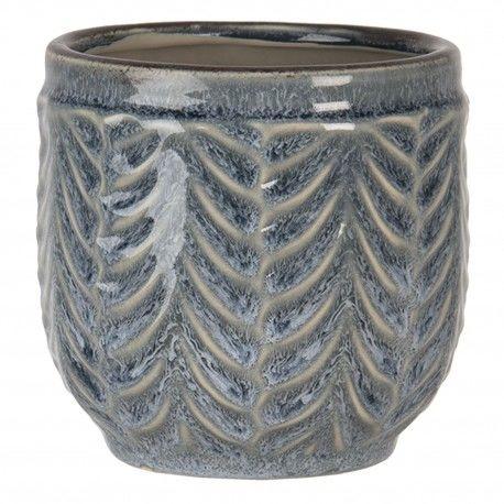Ceramiczna Osłonka Na Doniczkę Szaroniebieska S