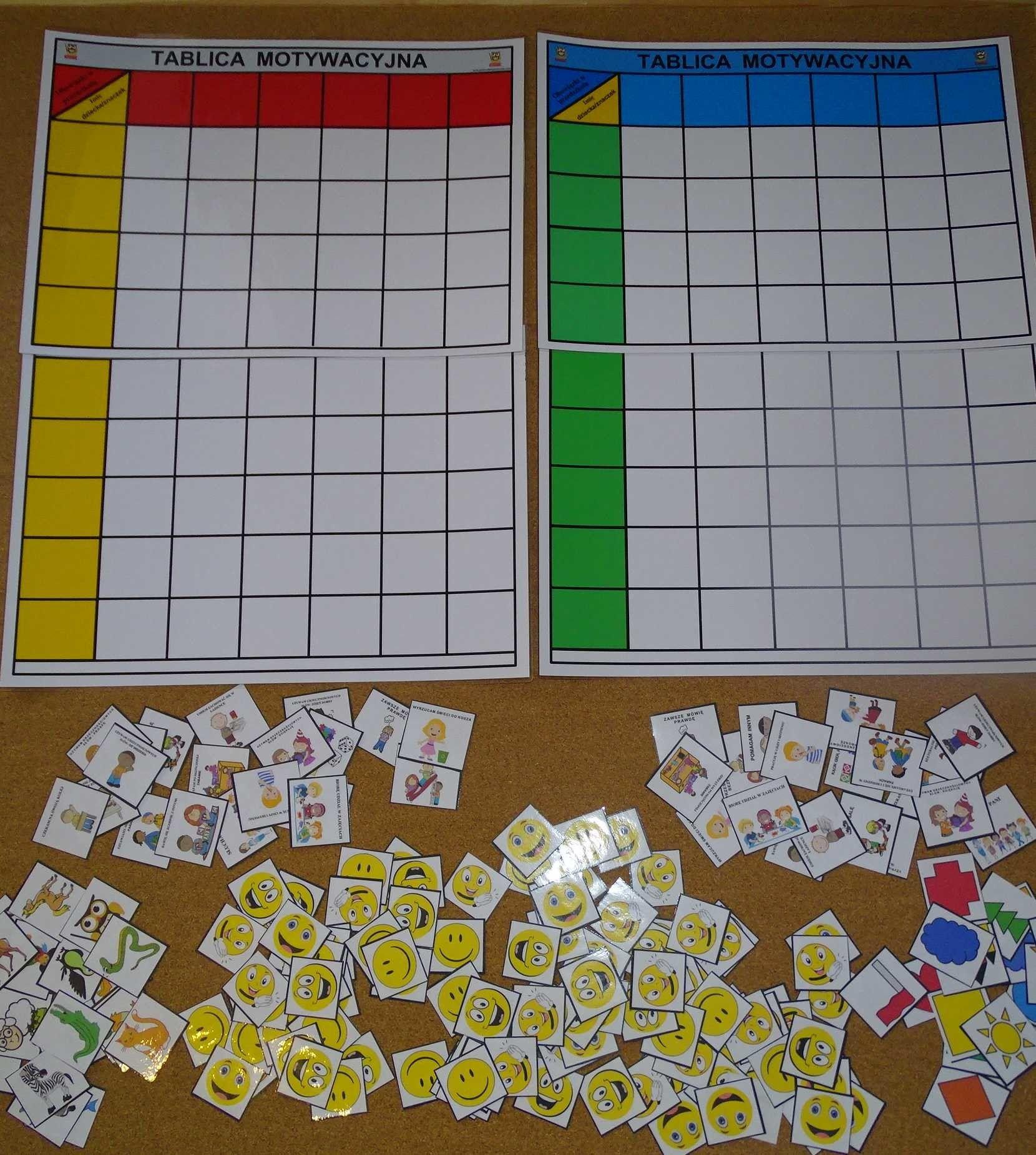 Tablice motywacyjne dla grupy przedszkolnej (18 osobowa)
