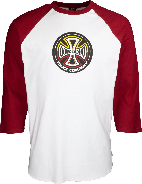 t-shirt męski INDEPENDENT SPLIT CROSS 3/4 BASEBALL TOP Maroon/White