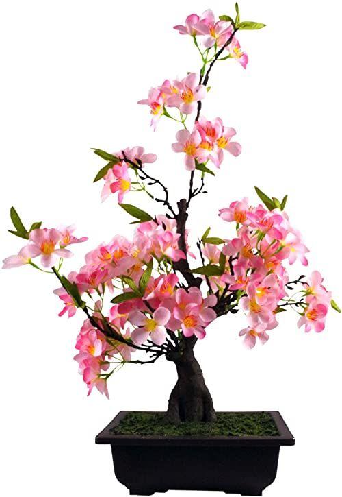 Leaf Sztuczne drzewo, różowy kwiat bonsai, 60 cm