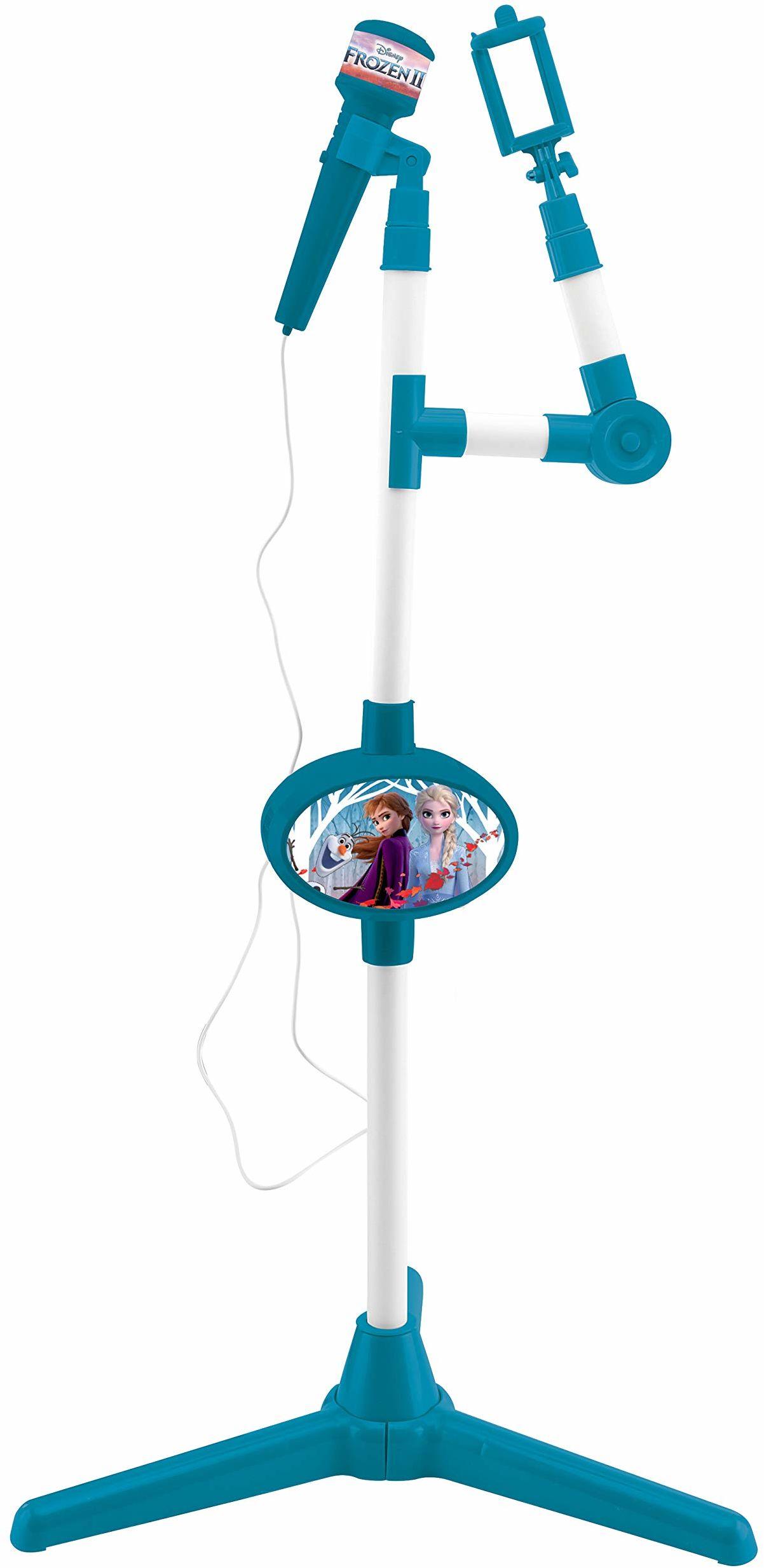 Lexibook S150FZ_50 Frozen 2 Elsa Anna Olaf mikrofon z głośnikiem i stojakiem oświetleniowym, gniazdo pomocnicze do podłączenia muzyki, niebieski/fioletowy