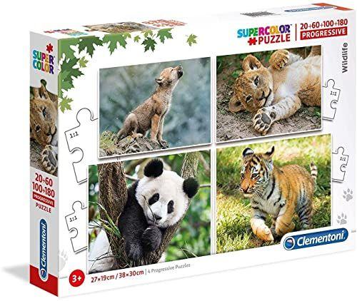 Clementoni 21409 Supercolor Puzzle Życie w Wildnis-20+60+100+180 części, wielokolorowe