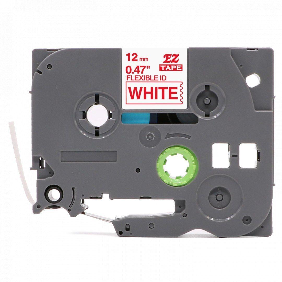 Taśma Brother TZe-FX232 Flexi Elastyczna 12mm x 8m biała czerwony nadruk - zamiennik OSZCZĘDZAJ DO 80% - ZADZWOŃ!