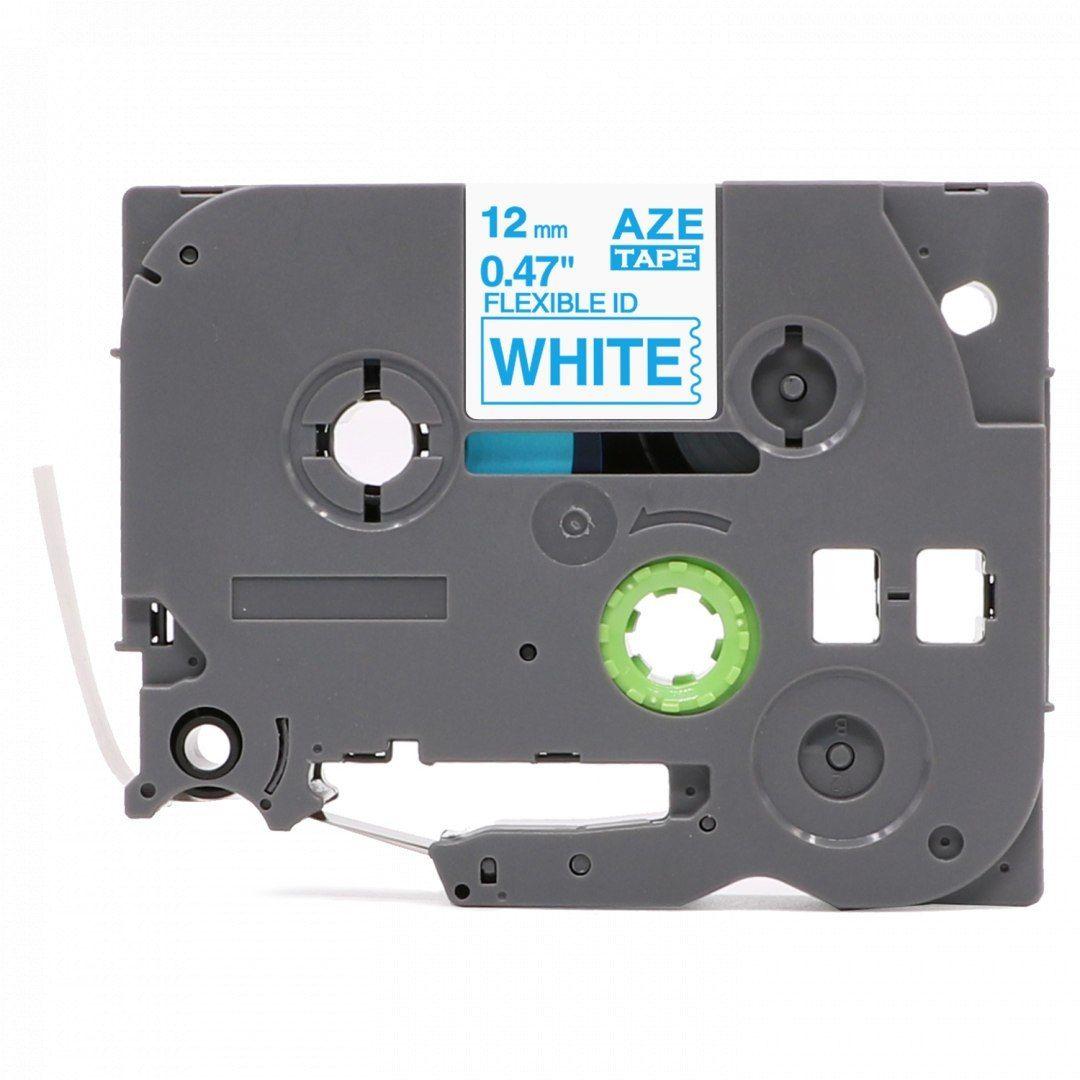 Taśma Brother TZe-FX233 Flexi Elastyczna 12mm x 8m biała niebieski nadruk - zamiennik OSZCZĘDZAJ DO 80% - ZADZWOŃ!