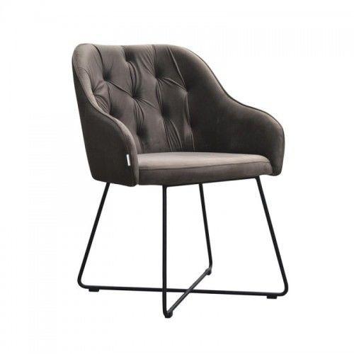 Pikowane krzesło jadalniane Chocco na metalowych nogach Cross
