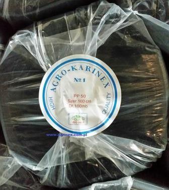 Agrowłóknina ściółkująca PP 50 g/m2 czarna 1,6 x 100 mb. Rolka o wadze 8,6 kg.