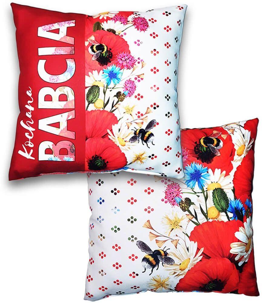 Poduszka dekoracyjna z kwiatowym nadrukiem Kochana Babcia