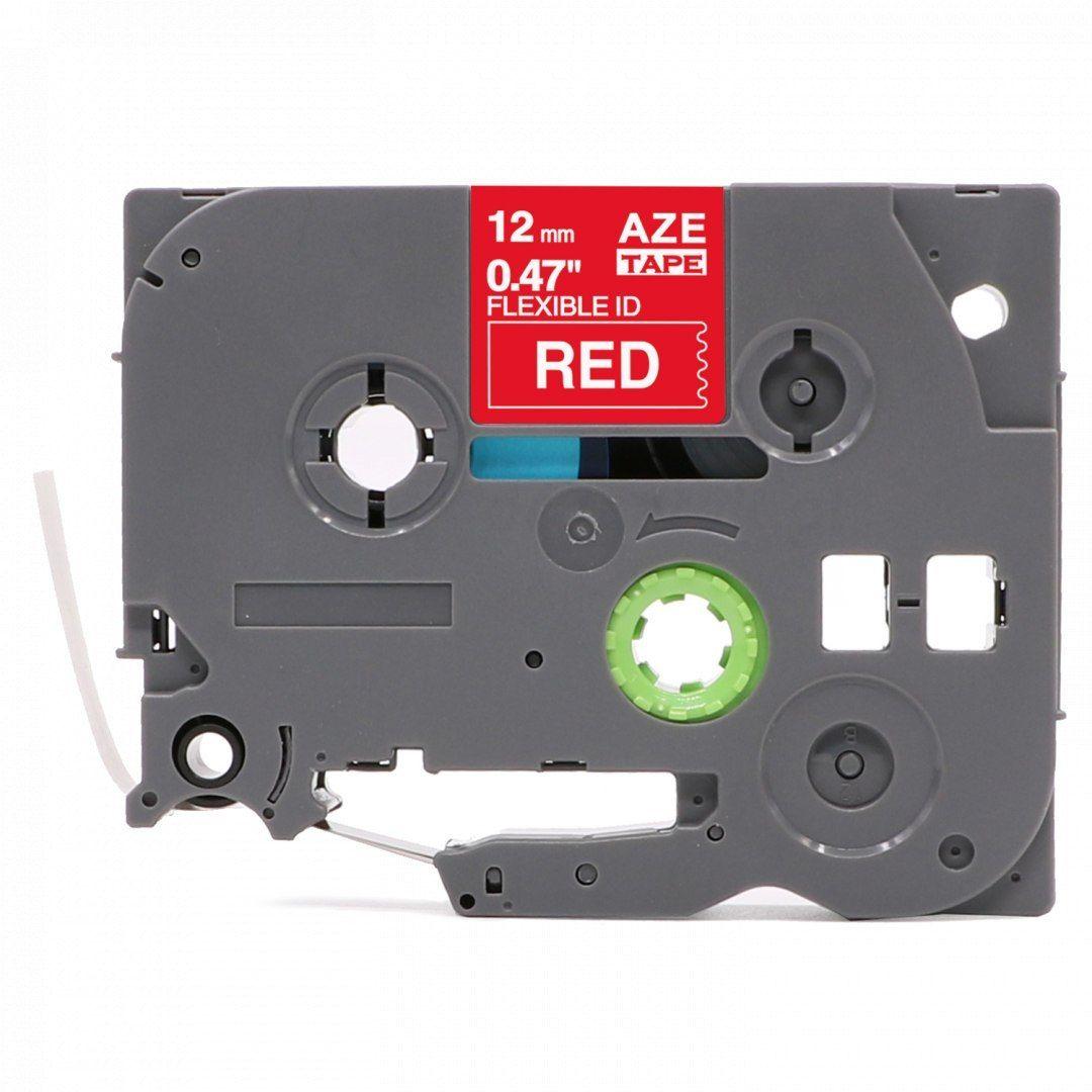 Taśma Brother TZe-FX435 Flexi Elastyczna 12mm x 8m czerwona biały nadruk - zamiennik OSZCZĘDZAJ DO 80% - ZADZWOŃ!