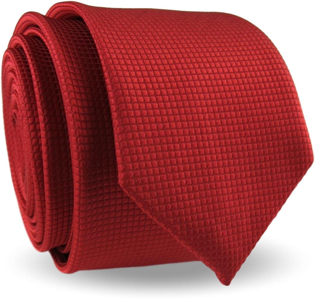 Krawat Męski Elegancki Modny Śledź wąski czerwony w delikatną kratkę G340
