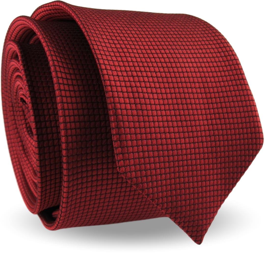 Krawat Męski Elegancki Modny Śledź wąski bordowy wiśniowy w delikatną kratkę G341