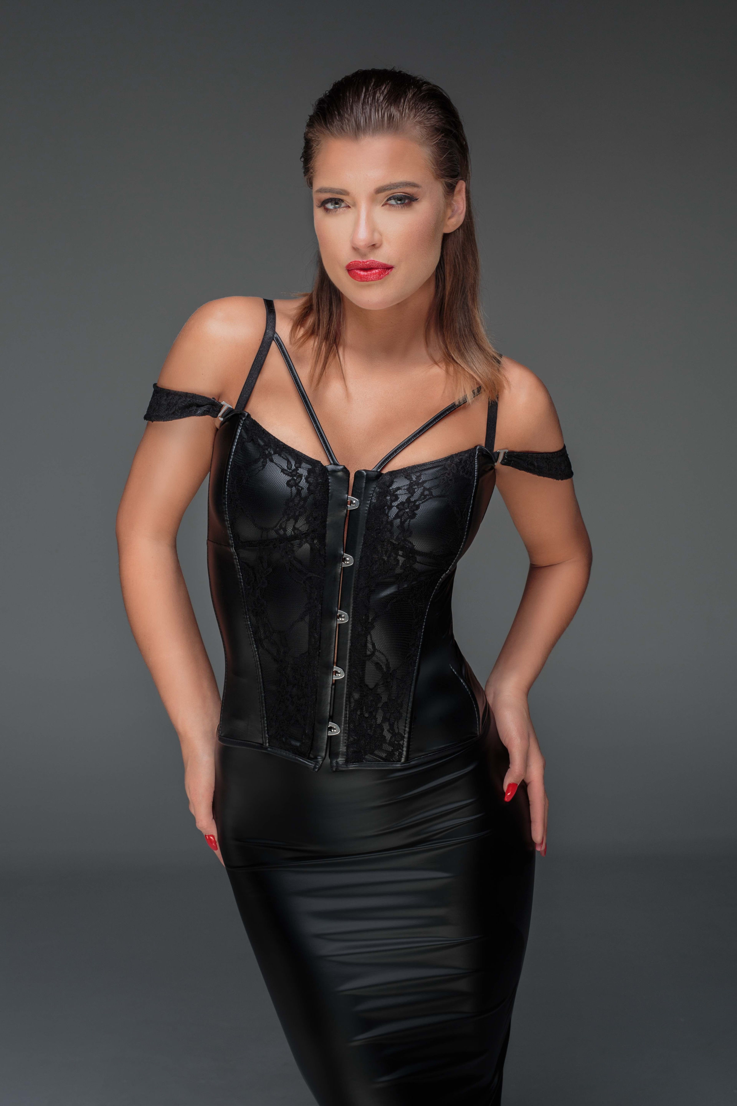 Noir Handmade F159 Corset with Lace and Powerwetlook with Detachable Straps S