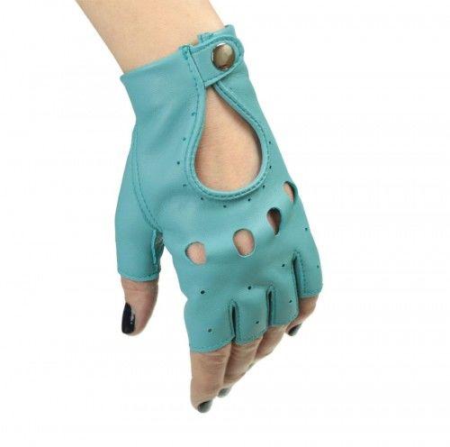 Jasno niebieskie rękawiczki całuski bez palców