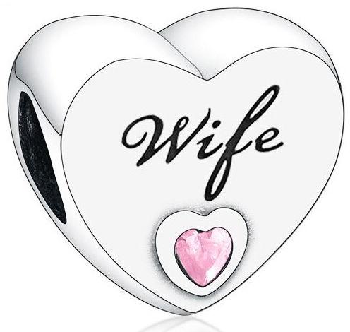 Rodowany srebrny charms do pandora serce dla żony heart wife cyrkonie srebro 925 B-79