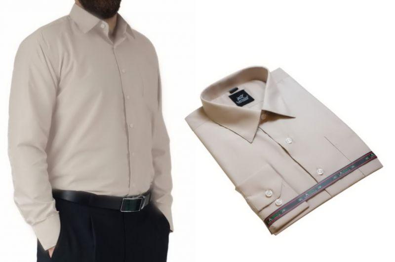 Wizytowa koszula męska do garnituru beżowa Laviino dl81