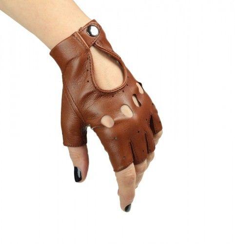 Rękawiczki bez palców, samochodowe, rowerowe - całuski - jasny brąz