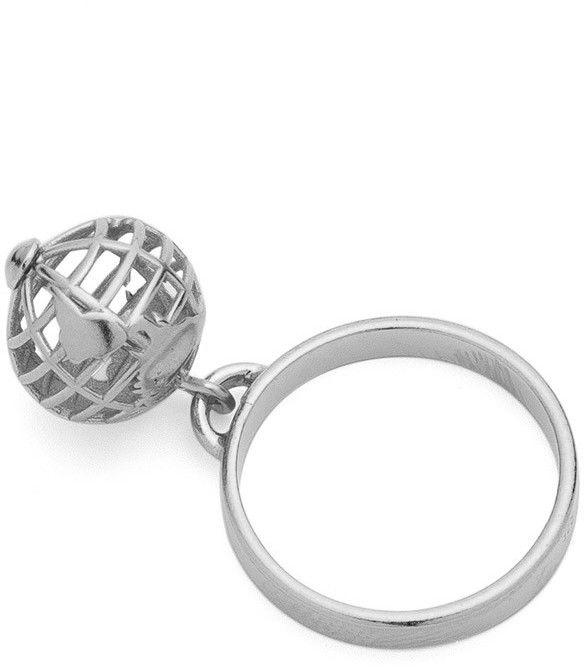 Pierścionek z zawieszką planeta ziemia, srebro 925 : ROZMIAR PIERŚCIONKA - 11 UK:L 16,00 MM, Srebro - kolor pokrycia - Pokrycie platyną