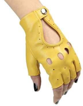 Rękawiczki bez palców, samochodowe, rowerowe - całuski - żółte