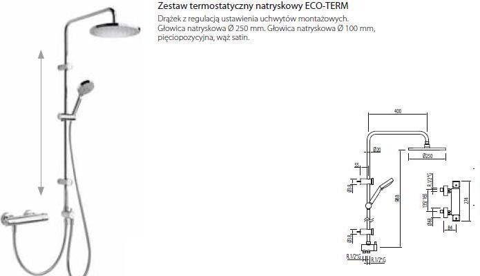 Tres zestaw natryskowy TRESMOSTATIC chrom 190387 Darmowa dostawa