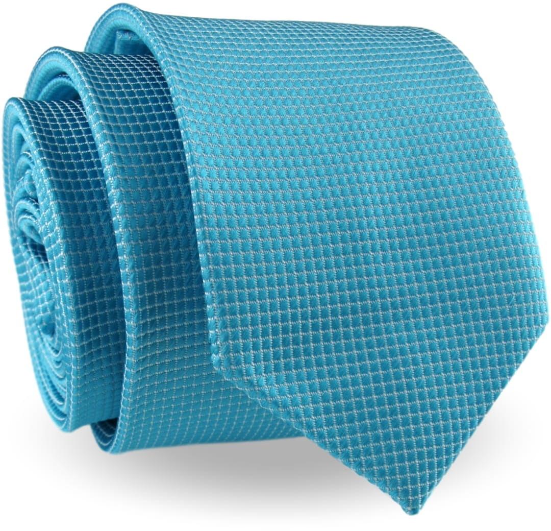 Krawat Męski Elegancki Modny Śledź wąski miętowy morski w delikatną kratkę G345