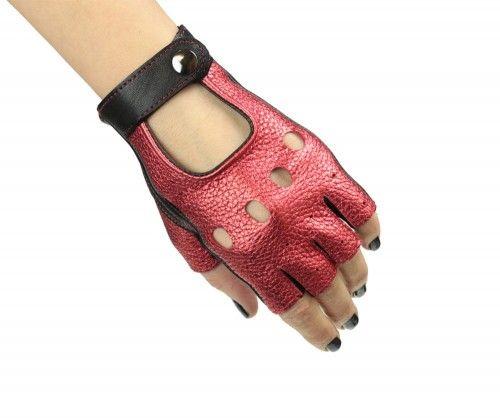 Rękawiczki bez palców, samochodowe, rowerowe - czerwone metaliczne