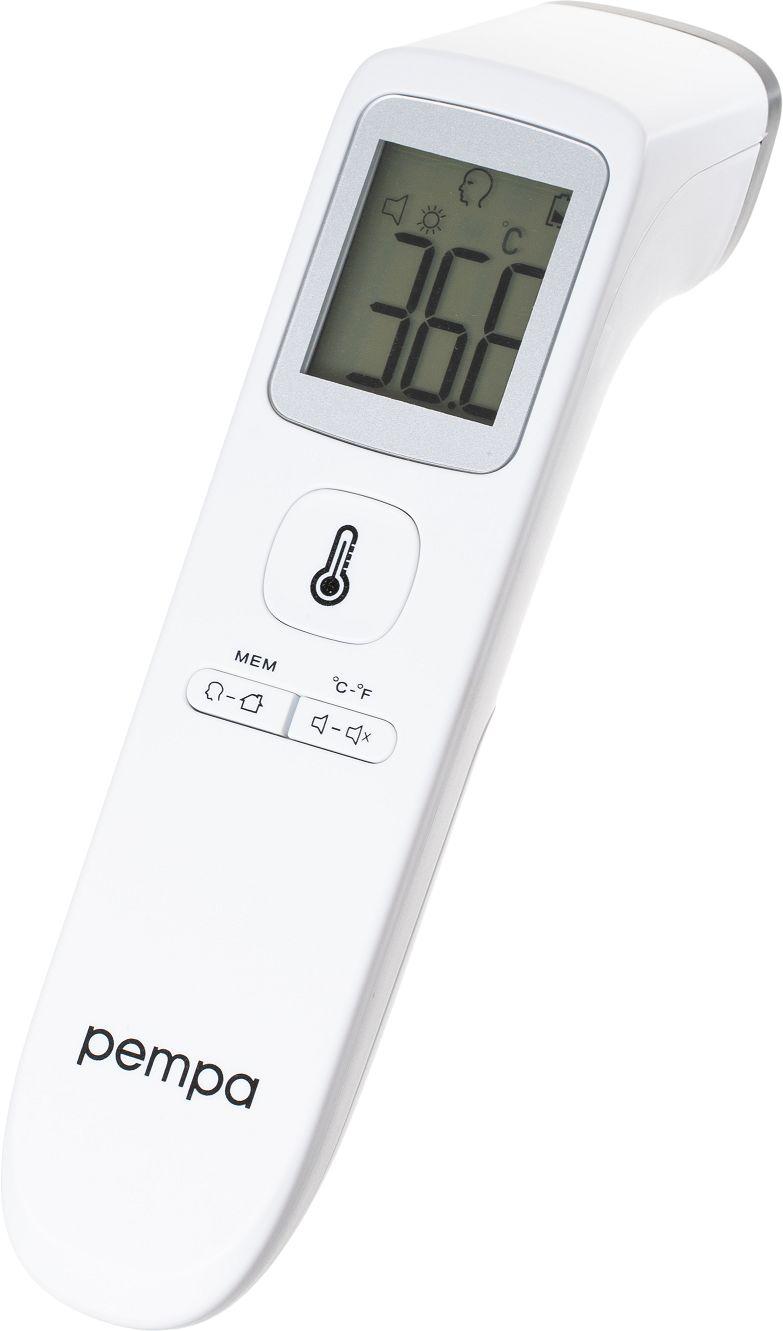 Precyzyjny termometr bezdotykowy z wyświetlaczem - jednosekundowy pomiar + autokalibracja + alarm gorączki (Pempa T200)