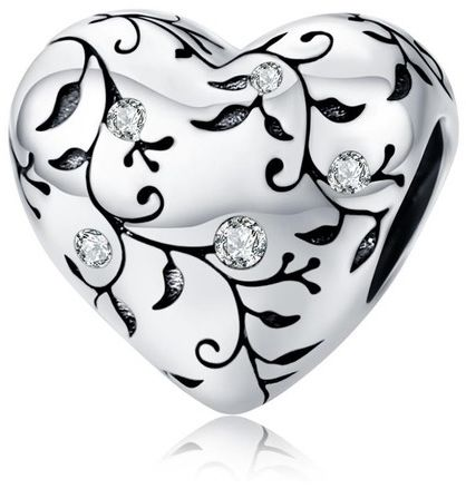 Rodowany srebrny charms do pandora serce gałązki listki cyrkonie srebro 925 NEW139
