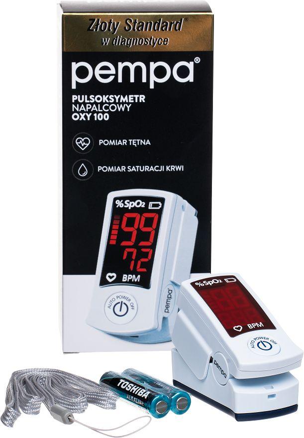Pulsoksymetr napalcowy do pomiaru saturacji i tętna - certyfikowany wyrób medyczny - łatwa obsługa, precyzyjny pomiar (Pempa OXY100)