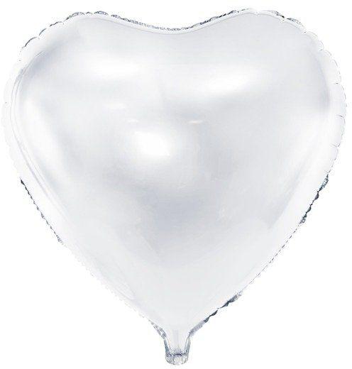 Balon foliowy Serce białe 45cm 1 sztuka FB9M-008