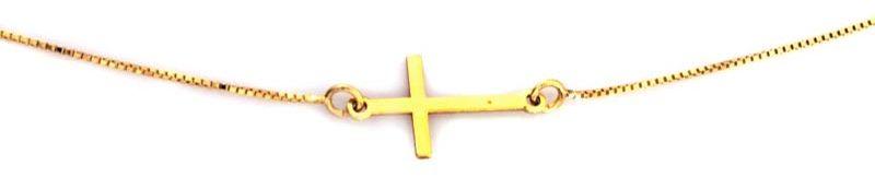 Srebrny pozłacany naszyjnik 925 z krzyżykiem 1,50g