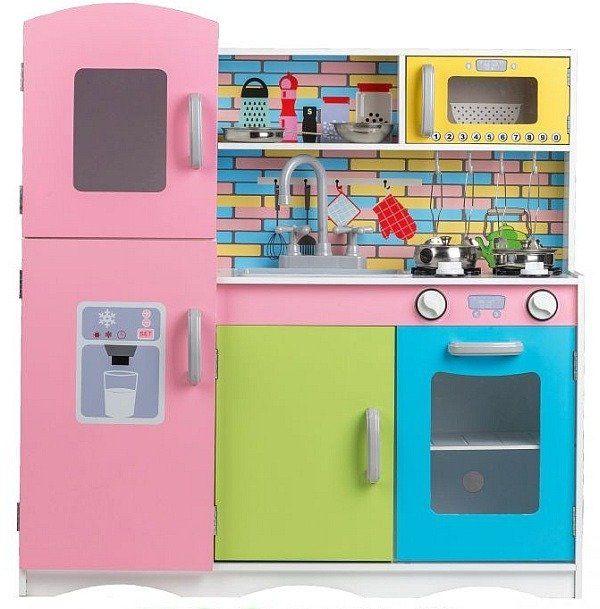 """Duża kuchnia drewniana """"Kolorowe pastelowe kafelki"""" - kuchnie dla dzieci"""