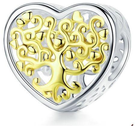 Rodowany srebrny charms do pandora serce ażurowe drzewo życia srebro 925 NEW89