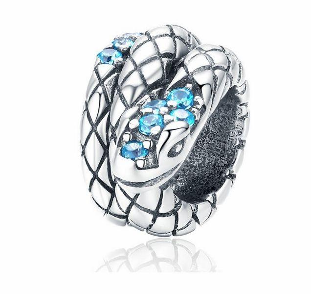 Rodowany srebrny charms do pandora wąż snake cyrkonie srebro 925 NEW100