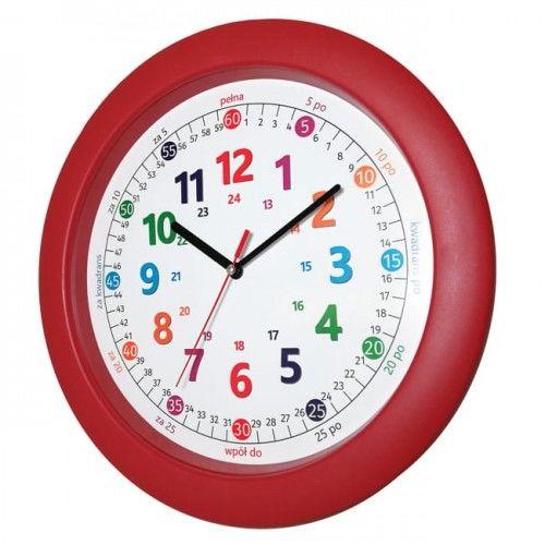 Zegar czerwony do nauki odczytu czasu PL