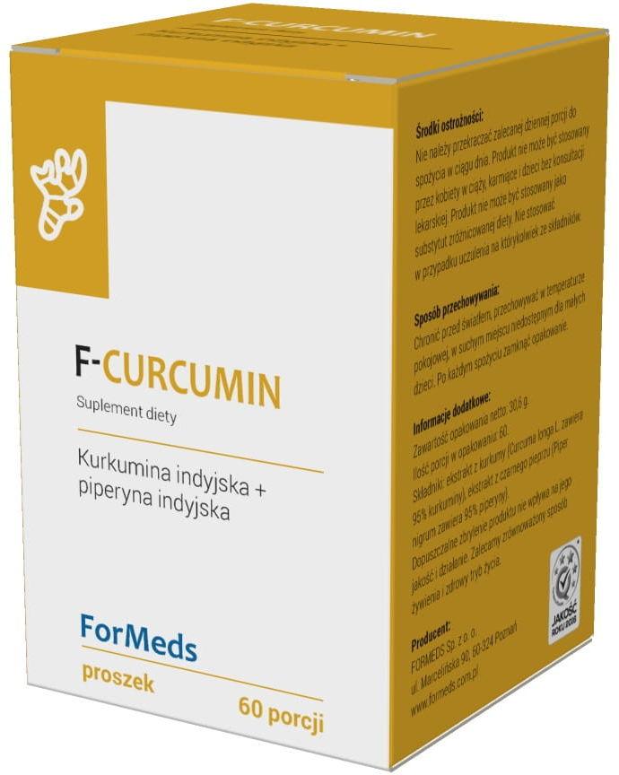F-Curcumin Kurkumina Indyjska 475mg + Piperyna Indyjska 9,5mg 60 Porcji 30,6g - ForMeds