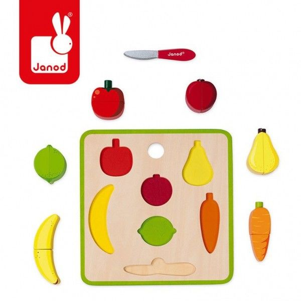 Janod - Układanka Drewniana 3d Green Market Owoce i Warzywa 2 - 4 Lata