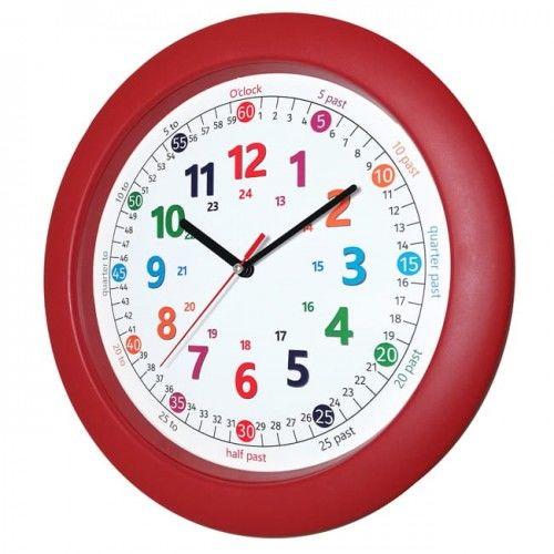 Zegar czerwony do nauki odczytu czasu ENG