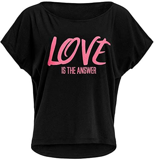 """WINSHAPE Damska bardzo lekka koszulka z krótkim rękawem Mct002 z neonowym różowym nadrukiem""""love Is The Answer"""" Czarny, neonowy różowy brokat M"""