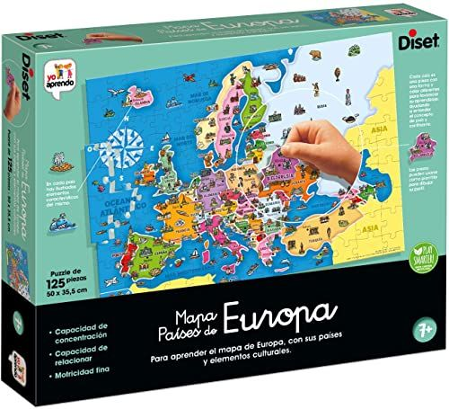 Diset 68947 Países de zabawka edukacyjna krajobrazy Europy, kolorowa