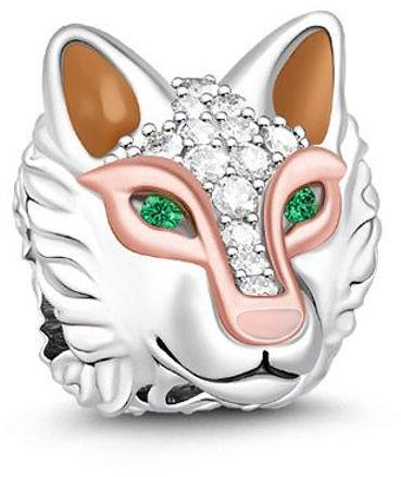 Rodowany srebrny charms do pandora głowa wilka wilczek wolf cyrkonie srebro 925 NEW193