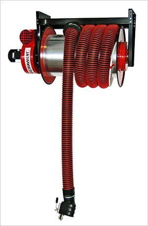 Bębnowy odsysacz spalin Klimawent ALAN-U/C-12-N z napędem sprężynowym, z wentylatorem FA, zestawem wężowym dł. 12m, śr. 100mm. NEGOCJUJ CENĘ