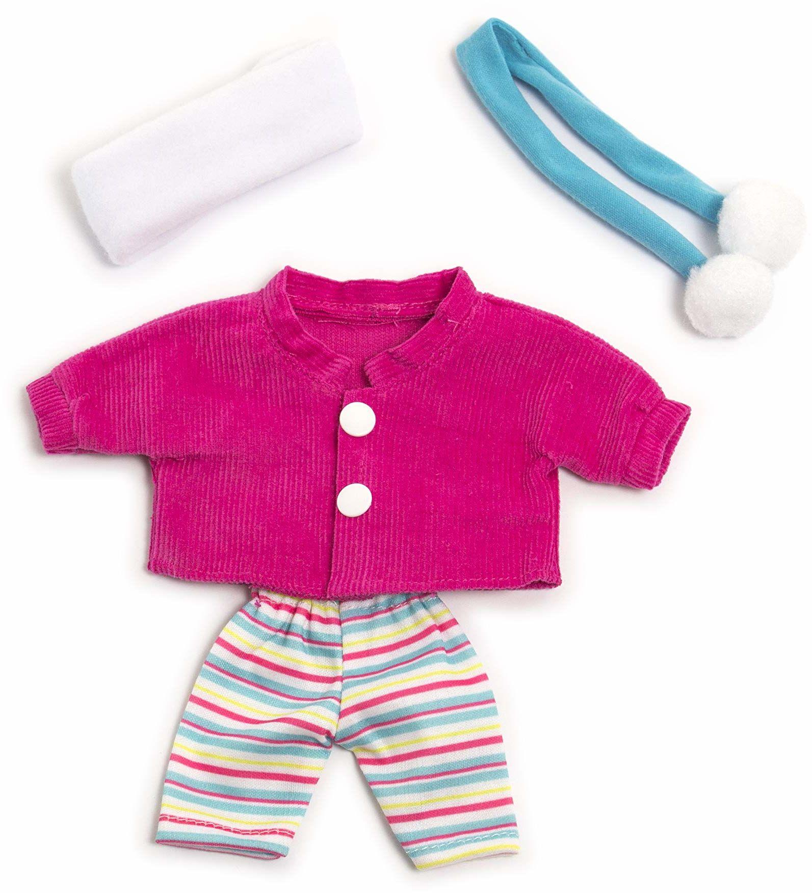Miniland 31678 sukienka dla lalek, różowa, niebieska, biała, 21 cm