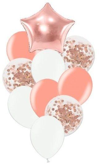 Zestaw balonów słupek różowe złoto i białe 10 sztuk SL5