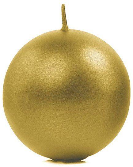 Świeca kula złota 8cm metaliczna 1 sztuka SKUMET80-019-1x